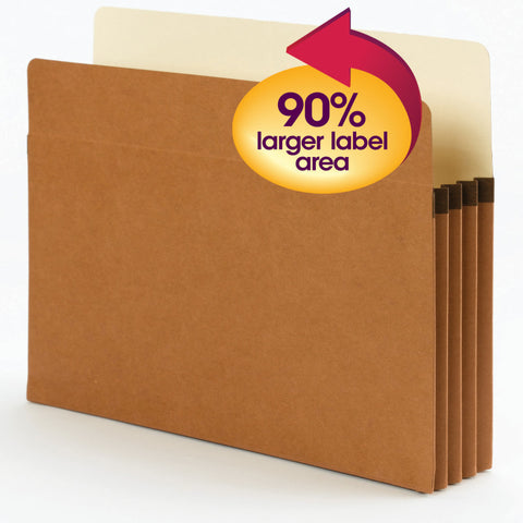 "Smead SuperTab® File Pocket, Oversized Straight-Cut Tab, 3-1/2"" Expansion, Letter Size, Redrope, 25 per Box (73230)"