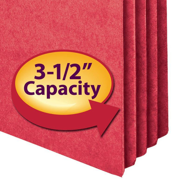 "Smead File Pocket, Straight-Cut Tab, 3-1/2"" Expansion, Letter Size, Red, 25 per Box (73231)"