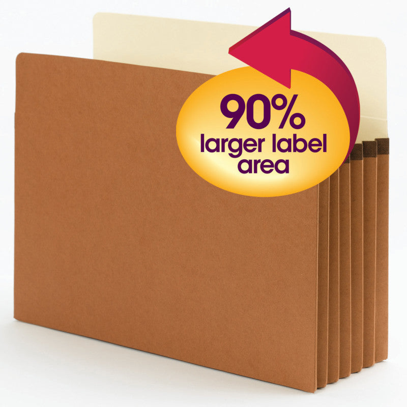 "Smead SuperTab® File Pocket, Oversized Straight-Cut Tab, 5-1/4"" Expansion, Letter Size, Redrope, 10 per Box (73240)"