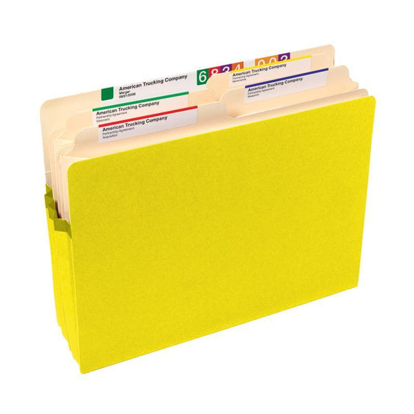 "Smead File Pocket, Straight-Cut Tab, 5-1/4"" Expansion, Letter Size, Yellow, 10 per Box (73243)"