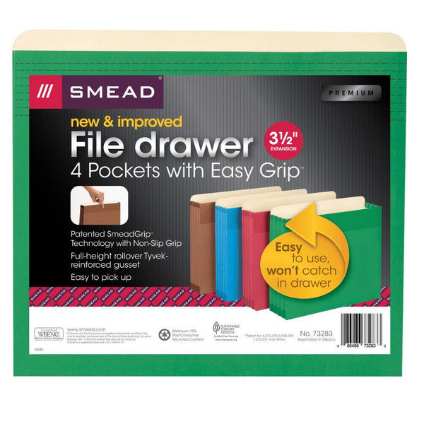 "Smead Full-Height Pocket with Easy Grip®, 3-1/2"" Expansion, Letter Size, Assorted Colors, 4 per Pack (73283)"