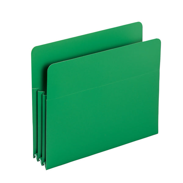 "Smead Poly File Pocket, Straight-Cut Tab, 3-1/2"" Expansion, Letter Size, Green Pack of 4 (73502)"