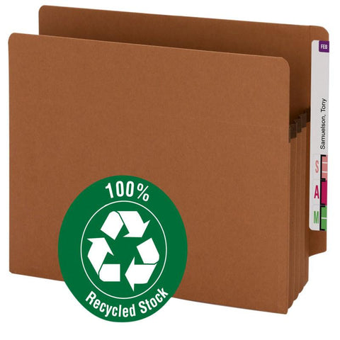 "Smead 100% Recycled End Tab Extra Wide Pocket, Straight-Cut Tab, 3-1/2"" Expansion, Letter Size, Redrope, 25 per Box (73610)"