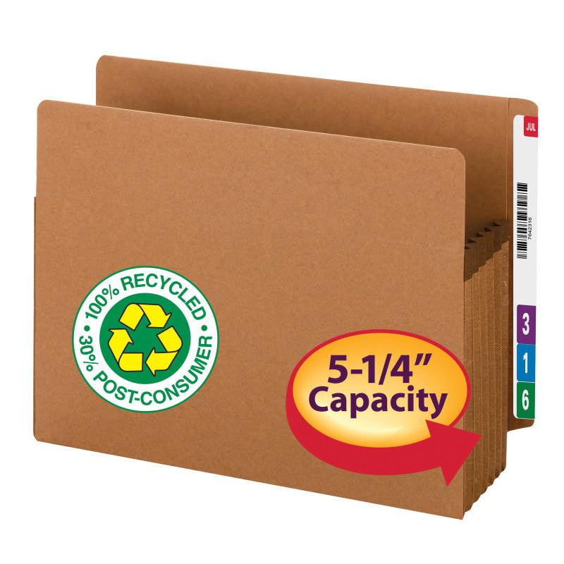 "Smead End Tab 100% Recycled File Pocket, Straight-Cut Tab, 5-1/4"" Expansion, Extra Wide Letter Size, Redrope, 10 per Box (73620)"