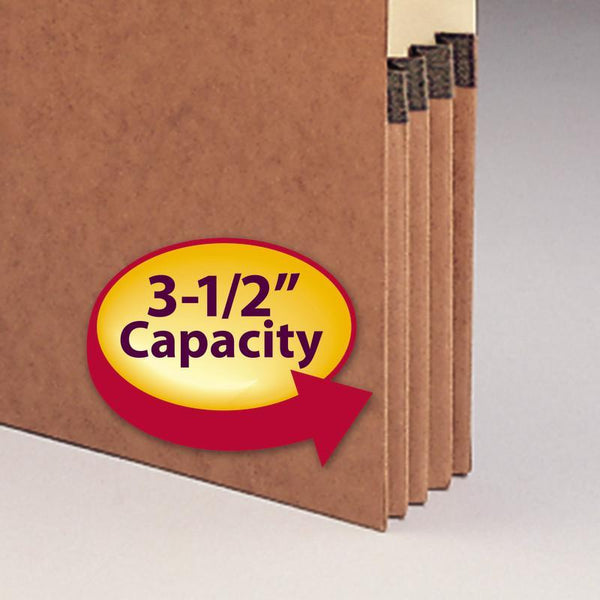 "Smead End Tab File Pocket, Reinforced 4"" High Top Position Tab, 3-1/2"" Expansion, Letter Size, Redrope with Manila Liner, 10 per Box (73624)"