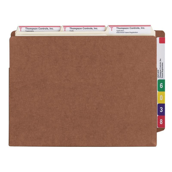 "Smead End Tab TUFF® File Pocket, Reinforced Straight-Cut Tab, 5-1/4"" expansion, Tyvek® Gusset, Extra Wide, Redrope (73790)"