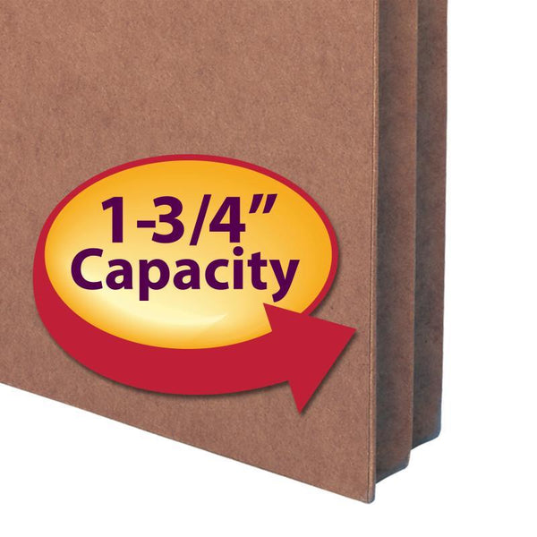 "Smead File Pocket, Straight-Cut Tab, 1-3/4"" Expansion, Letter Size, Redrope, 50 per Box (73800)"