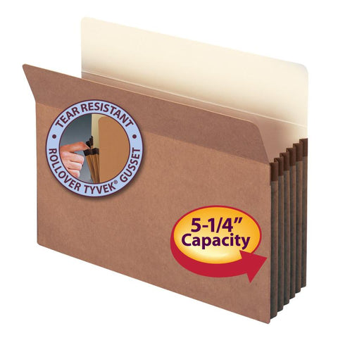 "Smead File Pocket, Straight-Cut Tab, 5-1/4"" Expansion, Letter Size, Redrope, 50 per Box (73810)"