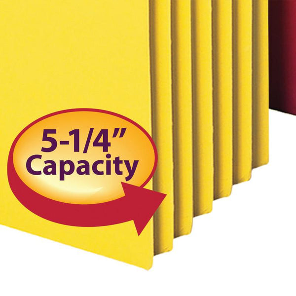 "Smead File Pocket, Straight-Cut Tab, 5-1/4"" Expansion, Letter Size, Assorted Colors, 5 per Pack (73836)"