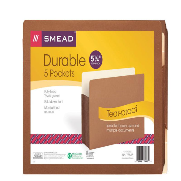 "Smead File Pocket, Straight-Cut Tab, 5-1/4"" Expansion, Letter Size, Redrope, 5 per Pack (73885)"