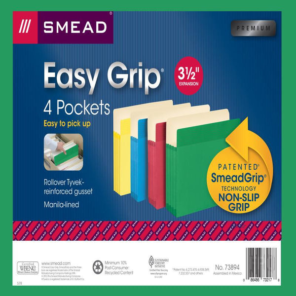 "Smead Easy Grip® File Pocket, Straight-Cut Tab, 3-1/2"" Expansion, Letter Size, Assorted Colors, 4 per Pack (73894)"