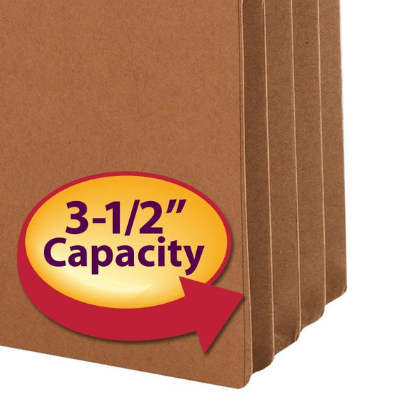 "Smead File Pocket, 2/5-Cut Tab Right Position, Guide Height, 3-1/2"" Expansion, Legal Size, Redrope, 25 per Box (74088)"