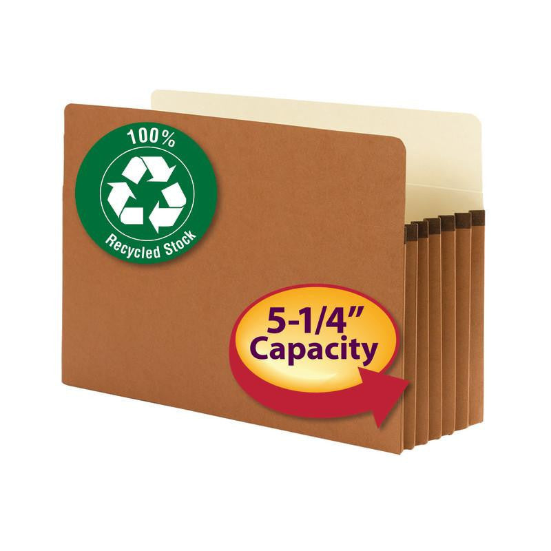 "Smead 100% Recycled File Pocket, Straight-Cut Tab, 5-1/4"" Expansion, Legal Size, Redrope, 10 per Box (74206)"