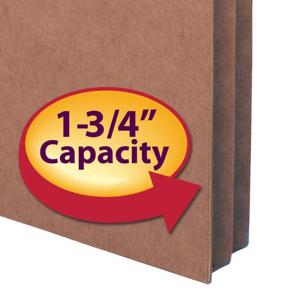 "Smead File Pocket, Straight-Cut Tab, 1-3/4"" Expansion, Legal Size, Redrope, 25 per Box (74214)"