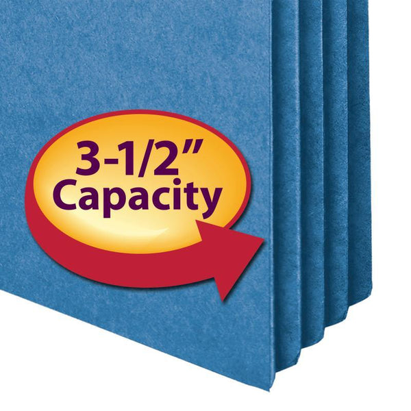 "Smead File Pocket, Straight-Cut Tab, 3-1/2"" Expansion, Legal Size, Blue, 25 per Box (74225)"