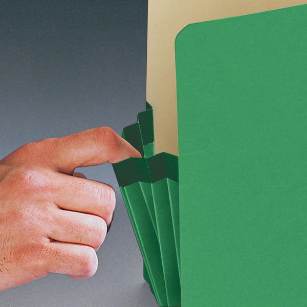 "Smead File Pocket, Straight-Cut Tab, 3-1/2"" Expansion, Legal Size, Green, 25 per Box (74226)"