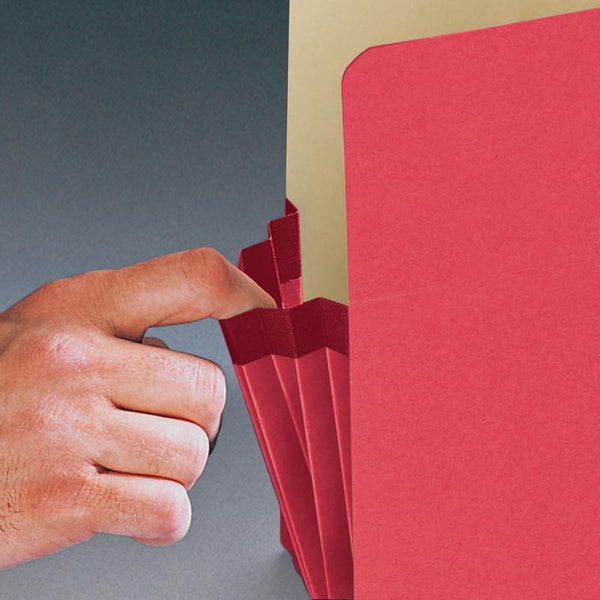 "Smead File Pocket, Straight-Cut Tab, 3-1/2"" Expansion, Legal Size, Red, 25 per Box (74231)"