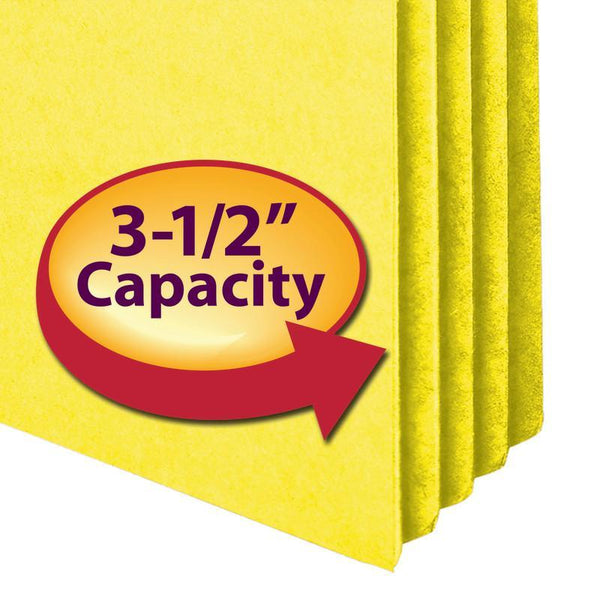 "Smead File Pocket, Straight-Cut Tab, 3-1/2"" Expansion, Legal Size, Yellow, 25 per Box (74233)"