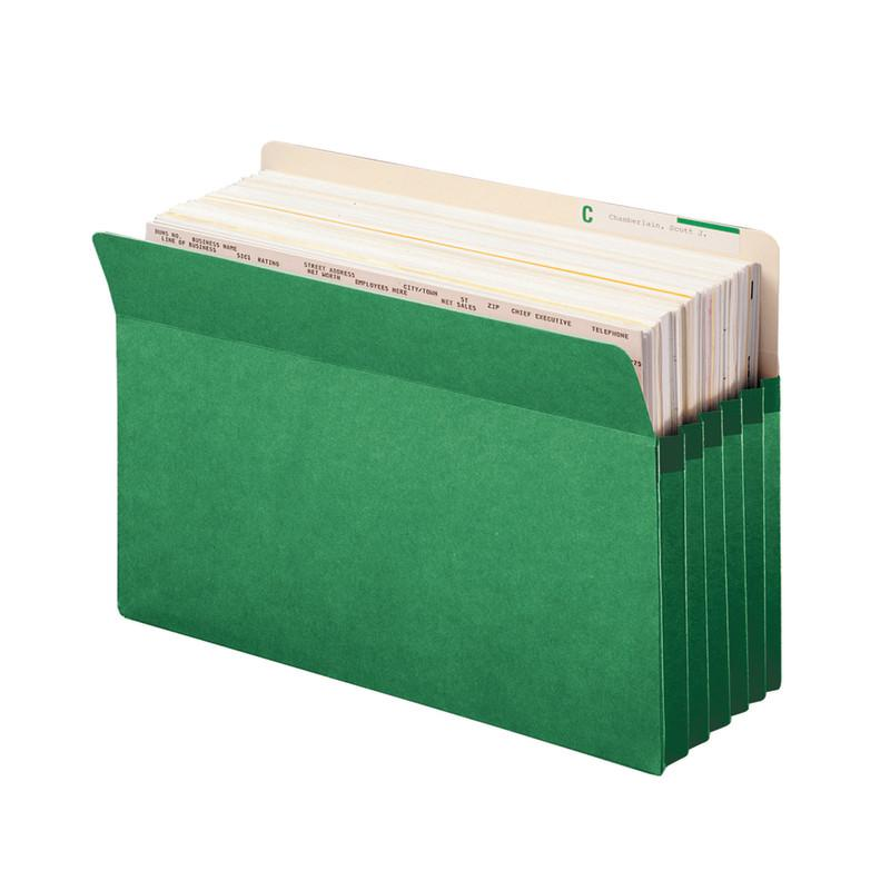"Smead File Pocket, Straight-Cut Tab, 5-1/4"" Expansion, Legal Size, Green, 10 per Box (74236)"