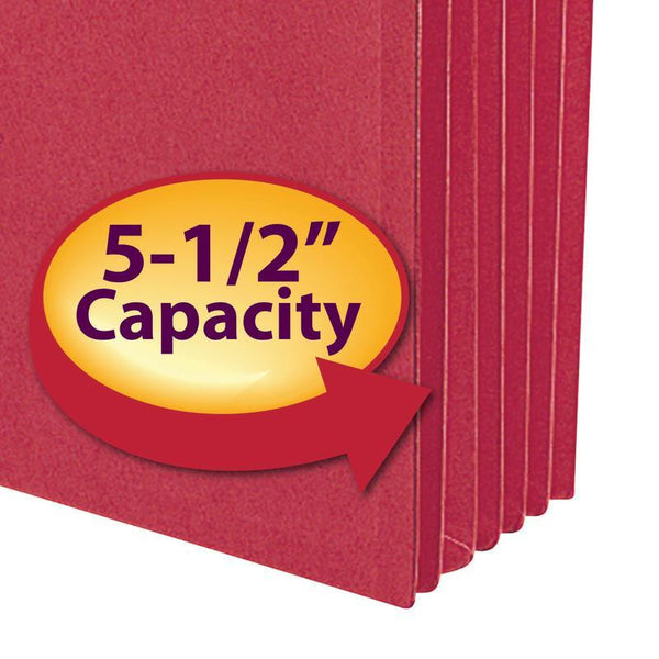 "Smead File Pocket, Straight-Cut Tab, 5-1/4"" Expansion, Legal Size, Red, 10 per Box (74241)"