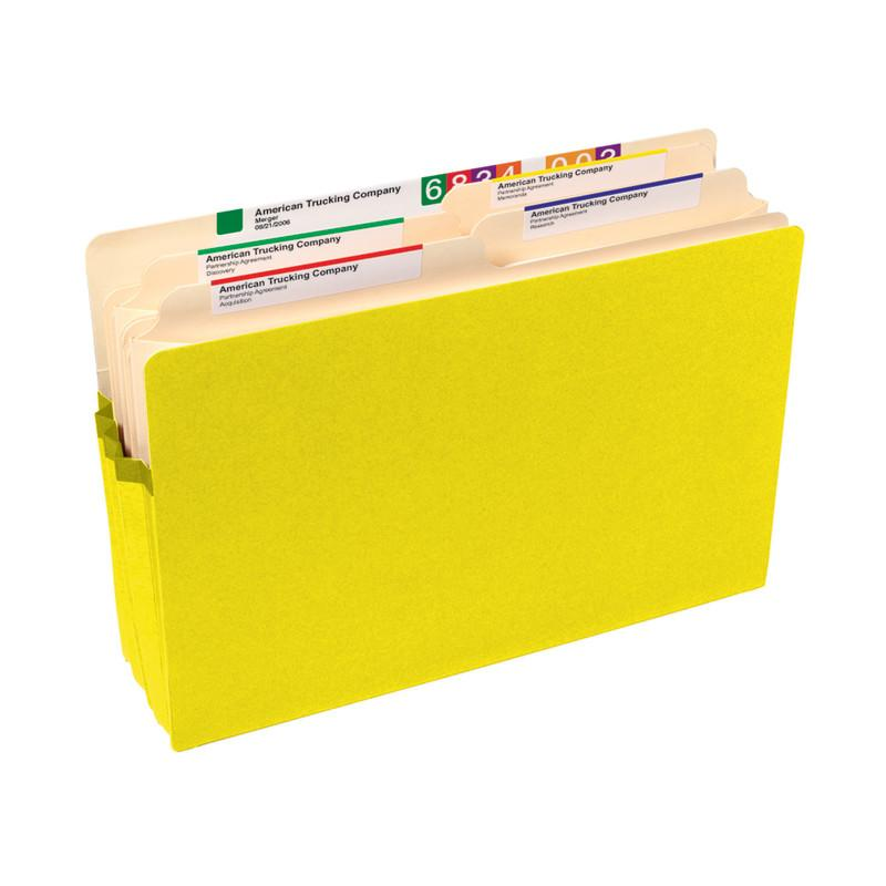 "Smead File Pocket, Straight-Cut Tab, 5-1/4"" Expansion, Legal Size, Yellow, 10 per Box (74243)"