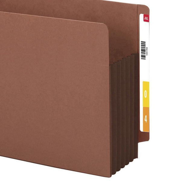 "Smead End Tab Pocket, Reinforced Straight-Cut Tab, 5 1/4"" Expansion, Extra Wide Legal Size, Redrope with Dark Brown Gusset, 10 per Box (74691)"