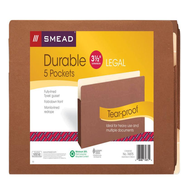 "Smead File Pocket, Straight-Cut Tab, 3-1/2"" Expansion, Legal Size, Redrope, 5 per Pack (74875)"