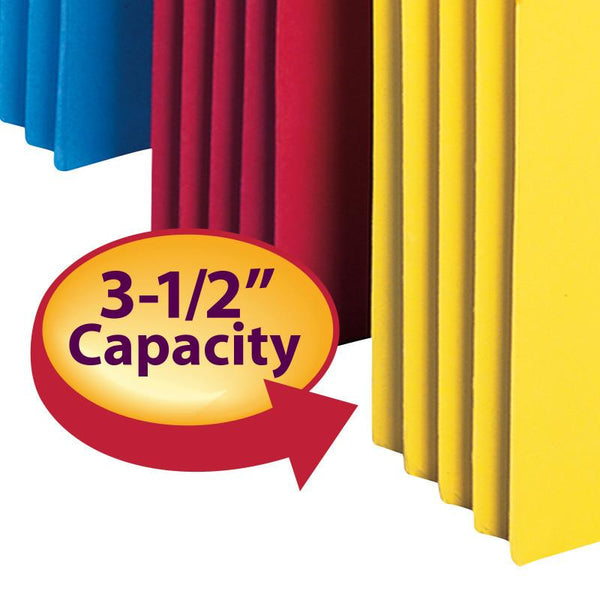 "Smead File Pocket, Straight-Cut Tab, 3-1/2"" Expansion, Legal Size, Assorted Colors, 5 per Pack (74892)"