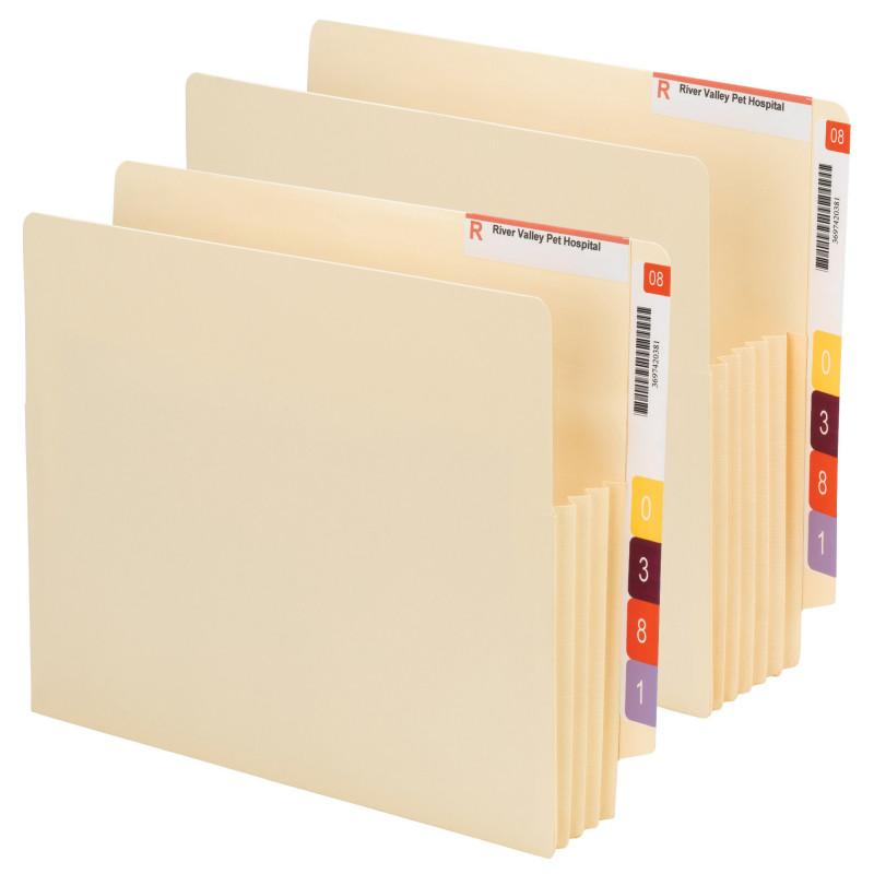 "Smead End Tab Convertible File Pocket, Reinforced Split Score Tab, Tear-resistant Gusset, 3-1/2"" expansion, Letter Size, Manila, 10 per Box (75165)"