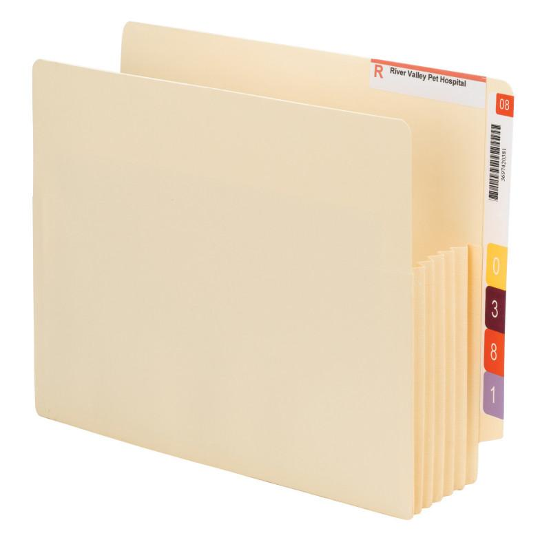 "Smead End Tab Convertible File Pocket, Reinforced Split Score Tab, Tyvek®-Lined® Gusset, 5 1/4"" Expansion, Letter Size, Manila, 10 per Box (75175)"