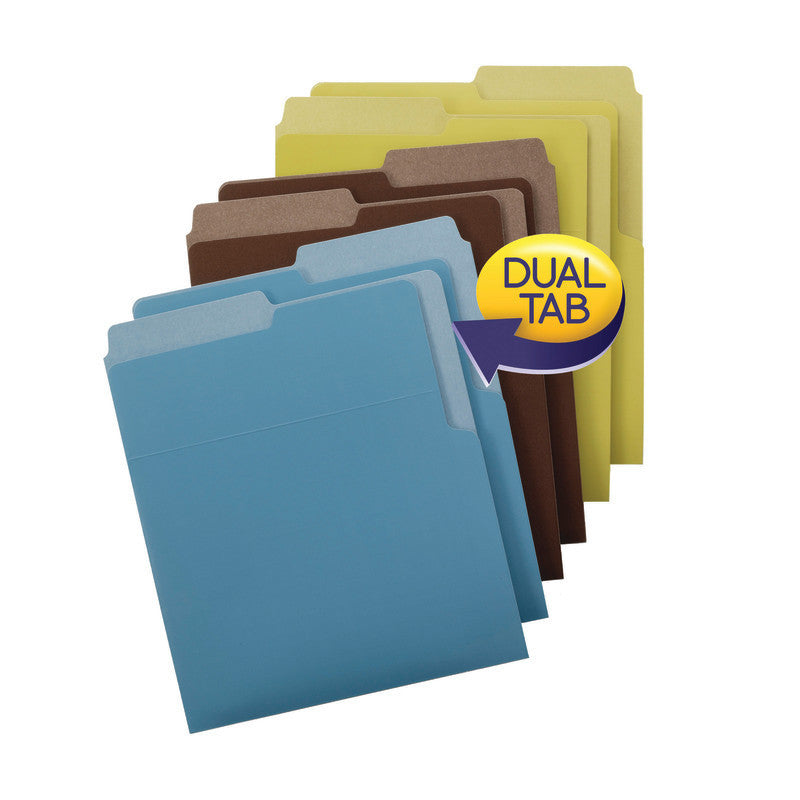 Smead Organized Up® Heavyweight Vertical File Folders, Dual Tabs, Letter Size, Earth Tones, 6 per Pack (75405)