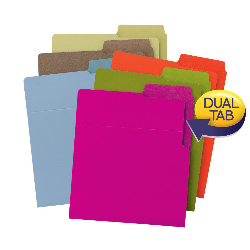 Smead Organized Up®Heavyweight Vertical File Folders, Dual Tabs, Letter Size, Carton of 48 - Assorted Colors(75411)