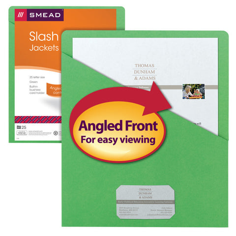 Pack of 25 Smead Organized Up® Slash Jackets , Letter Size, Green (75432)