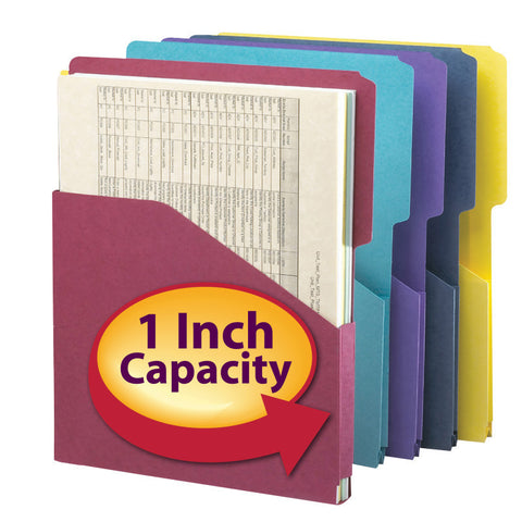 "Smead Organized Up® Expanding Slash Jacket, 2/5-Cut Tab, 1"" Expansion, Letter Size, Assorted Colors, 5 per Pack (75445)"