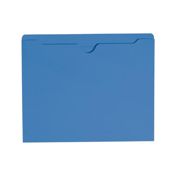 Smead File Jacket, Reinforced Straight-Cut Tab, Flat-No Expansion, Letter Size, Blue, 100 per Box (75502)