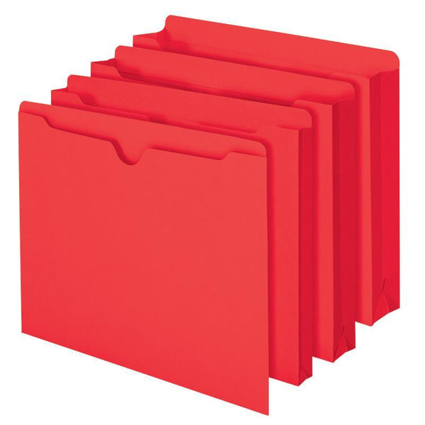 Smead File Jacket, Reinforced Straight-Cut Tab, Flat-No Expansion, Letter Size, Red, 100 per Box (75509)