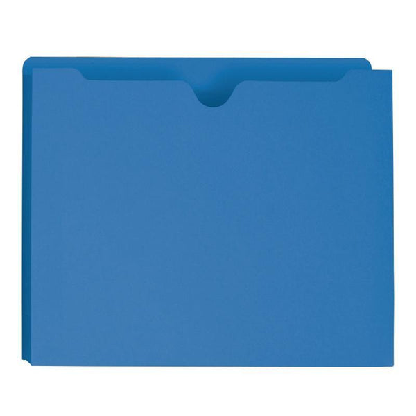 "Smead File Jacket, Reinforced Straight-Cut Tab, 2"" Expansion, Letter Size, Blue, 50 per Box (75562)"