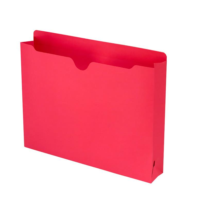 "Smead File Jacket, Reinforced Straight-Cut Tab, 2"" Expansion, Letter Size, Red, 50 per Box (75569)"