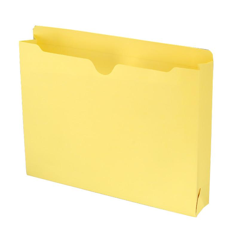 "Smead File Jacket, Reinforced Straight-Cut Tab, 2"" Expansion, Letter Size, Yellow, 50 per Box (75571)"