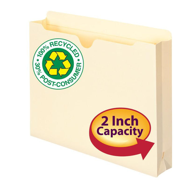"Smead 100% Recycled File Jacket, Reinforced Straight-Cut Tab, 2"" Expansion, Letter Size, Manila, 50 per Box (75605)"