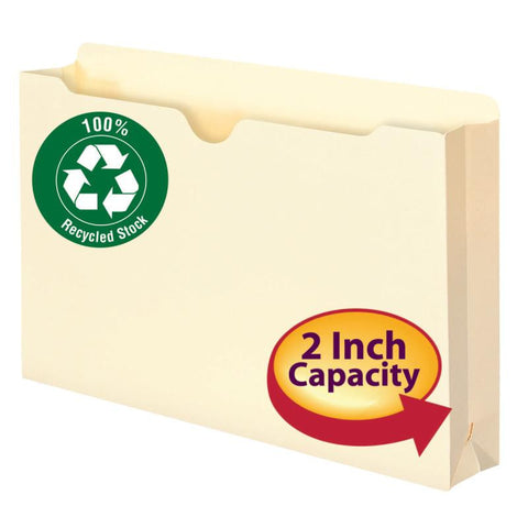 "Smead 100% Recycled File Jacket, Reinforced Straight-Cut Tab, 2"" Expansion, Legal Size, Manila, 50 per Box (75607)"