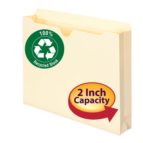 "Smead 100% Recycled File Jacket, Reinforced Straight-Cut Tab, 2"" Expansion, Letter Size, Manila, 10 per Pack (75610)"