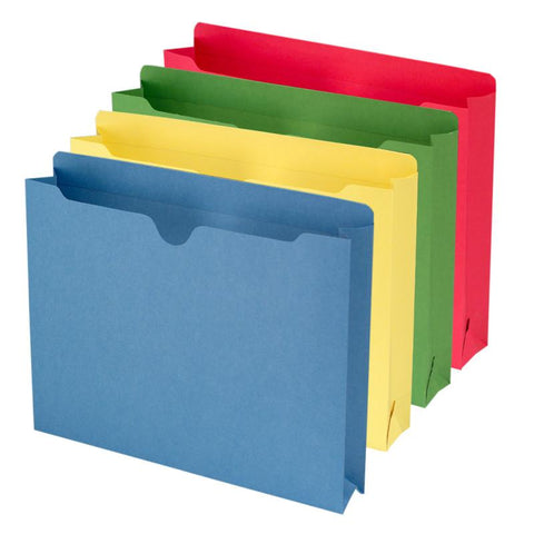 "Smead File Jacket, Reinforced Straight-Cut Tab, 2"" Expansion, Letter Size, Assorted Colors, 50 per Box (75673)"