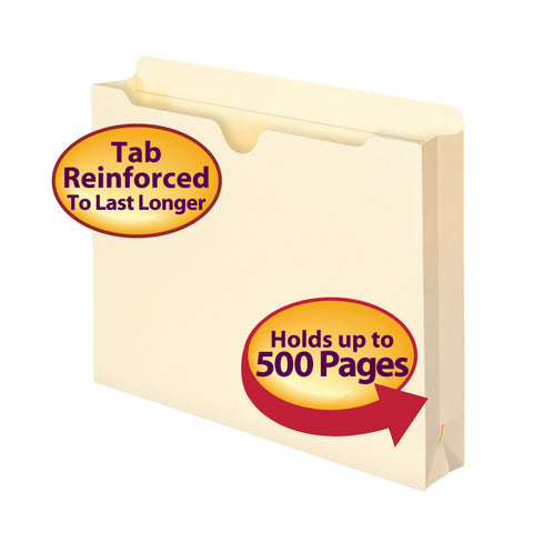 "Smead File Jacket, Reinforced Tab, 2"" Expansion, Letter Size, Manila, 10 per Pack (75692)"
