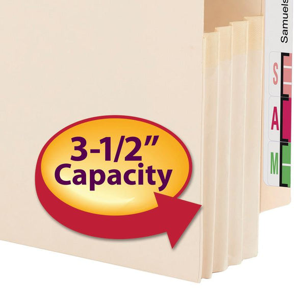 "Smead End Tab File Pocket, Reinforced Straight-Cut Tab, 3-1/2"" Expansion, Manila Gusset, Legal Size, Manila, 25 per Box (76124)"