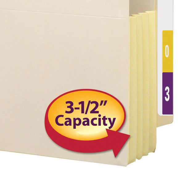 "Smead End Tab File Pocket, Reinforced Straight-Cut Tab, 3-1/2"" Expansion, Tyvek®-Lined® Gusset, Legal Size, Manila, 10 per Box (76164)"