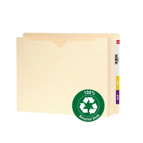 "Smead 100% Recycled End Tab File Jacket, Reinforced Straight-Cut Tab, 2"" Expansion, Letter Size, Manila, 25 per Box (76510)"