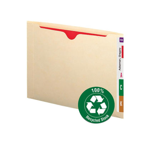 Smead 100% Recycled End Tab File Jacket, Reinforced Straight-Cut Tab, Flat-No Expansion, Letter Size, Manila, 50 per Box (76530)