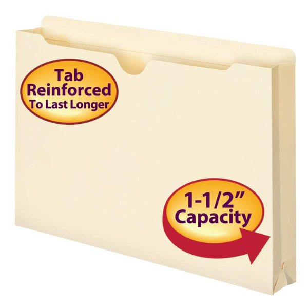 "Smead File Jacket, Reinforced Tab, 1-1/2"" Expansion, Legal Size, Manila, 50 per Box (76540)"