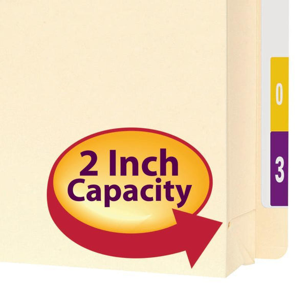 "Smead End Tab Expanding File Jacket, Reinforced Straight-Cut Tab, 2"" Expansion, Letter Size, Manila, 25 per Box (76910)"